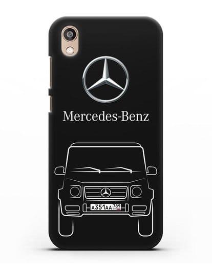 Чехол Mercedes Benz G-класс с автомобильным номером силикон черный для Honor 8S Prime