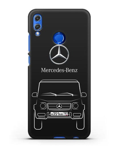 Чехол Mercedes Benz G-класс с автомобильным номером силикон черный для Honor 8X