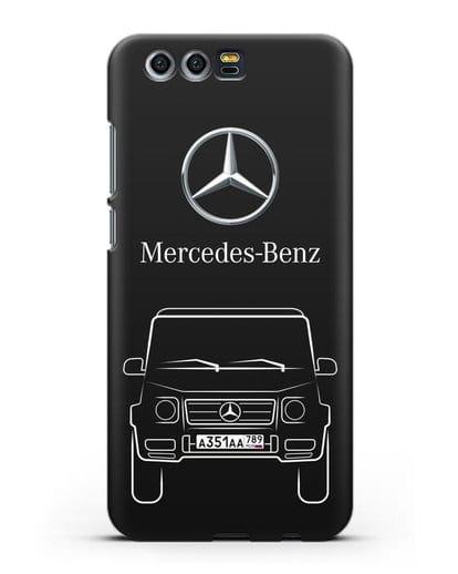 Чехол Mercedes Benz G-класс с автомобильным номером силикон черный для Honor 9
