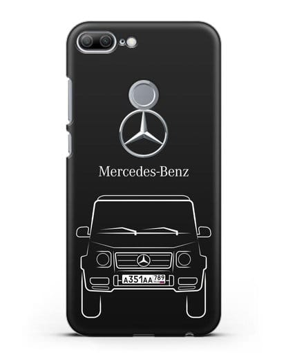 Чехол Mercedes Benz G-класс с автомобильным номером силикон черный для Honor 9 Lite