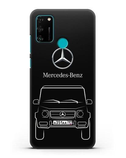 Чехол Mercedes Benz G-класс с автомобильным номером силикон черный для Honor 9A