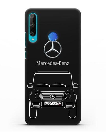 Чехол Mercedes Benz G-класс с автомобильным номером силикон черный для Honor 9C
