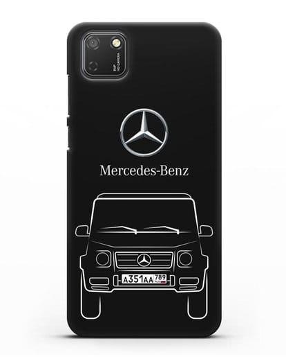Чехол Mercedes Benz G-класс с автомобильным номером силикон черный для Honor 9S