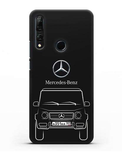 Чехол Mercedes Benz G-класс с автомобильным номером силикон черный для Honor 9X