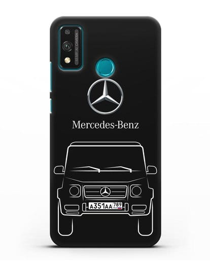 Чехол Mercedes Benz G-класс с автомобильным номером силикон черный для Honor 9X lite