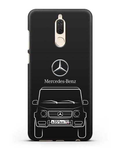 Чехол Mercedes Benz G-класс с автомобильным номером силикон черный для Huawei Mate 10 Lite