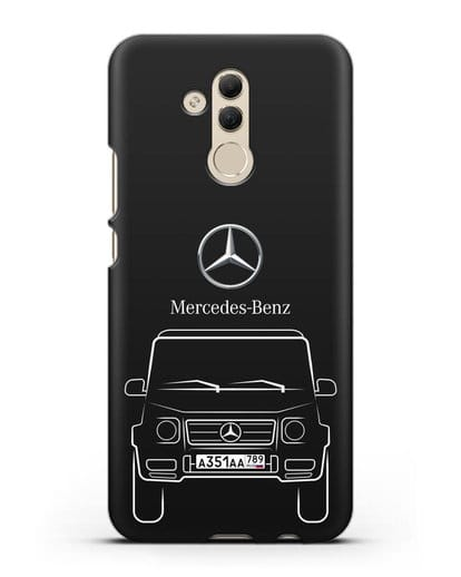 Чехол Mercedes Benz G-класс с автомобильным номером силикон черный для Huawei Mate 20 Lite