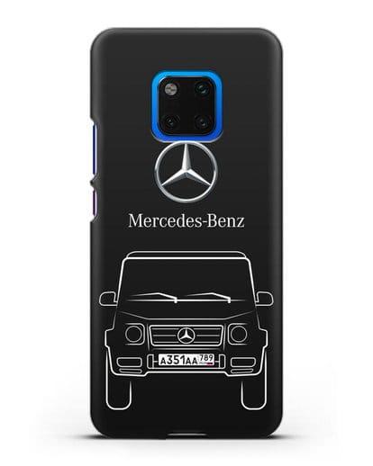 Чехол Mercedes Benz G-класс с автомобильным номером силикон черный для Huawei Mate 20 Pro