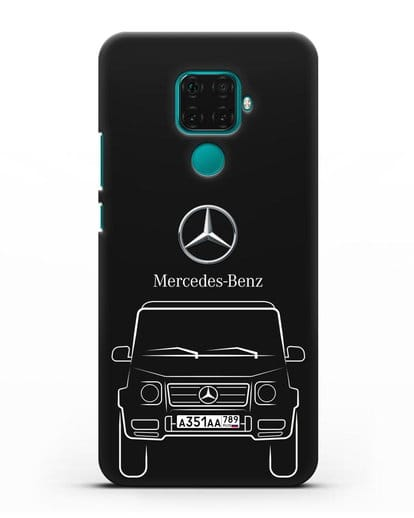 Чехол Mercedes Benz G-класс с автомобильным номером силикон черный для Huawei Mate 30 Lite