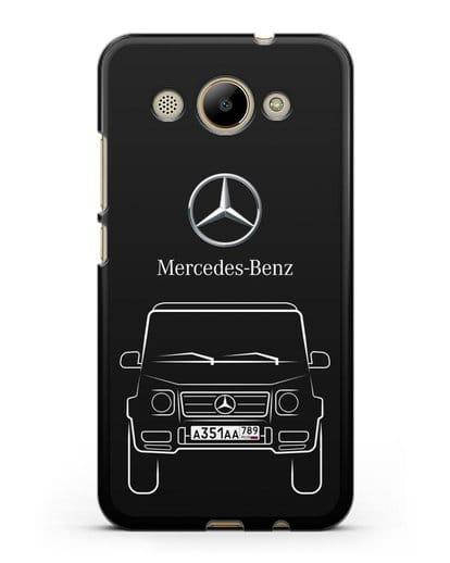 Чехол Mercedes Benz G-класс с автомобильным номером силикон черный для Huawei Y3 2017