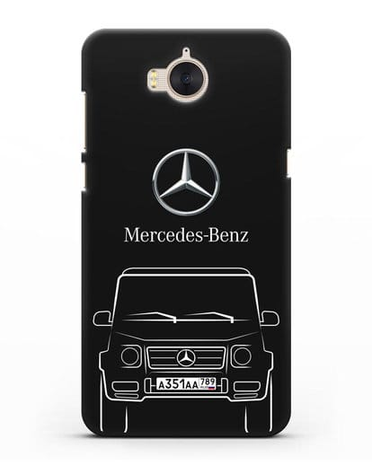 Чехол Mercedes Benz G-класс с автомобильным номером силикон черный для Huawei Y5 2017