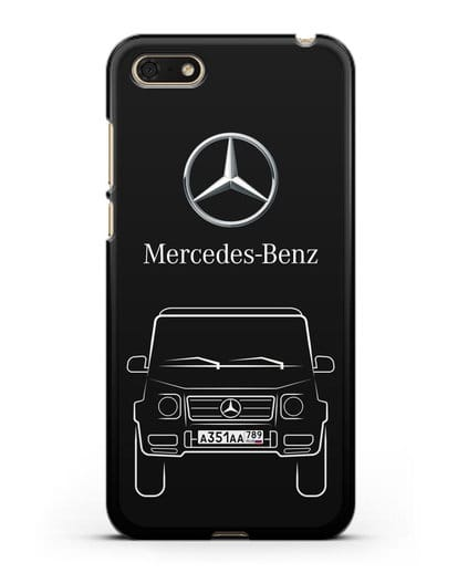 Чехол Mercedes Benz G-класс с автомобильным номером силикон черный для Huawei Y5 Prime 2018