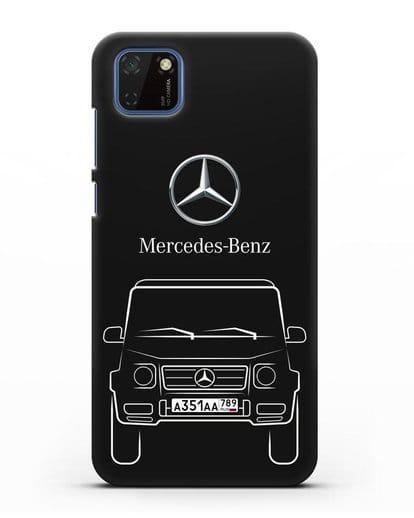 Чехол Mercedes Benz G-класс с автомобильным номером силикон черный для Huawei Y5P