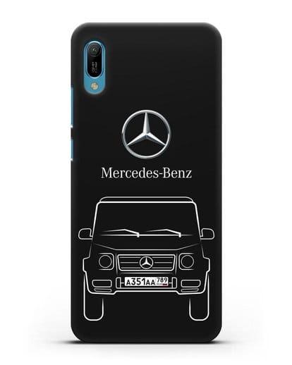 Чехол Mercedes Benz G-класс с автомобильным номером силикон черный для Huawei Y6 2019