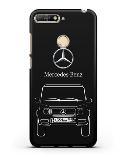 Чехол Mercedes Benz G-класс с автомобильным номером силикон черный для Huawei Y6 Prime 2018