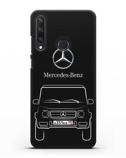 Чехол Mercedes Benz G-класс с автомобильным номером силикон черный для Huawei Y6P