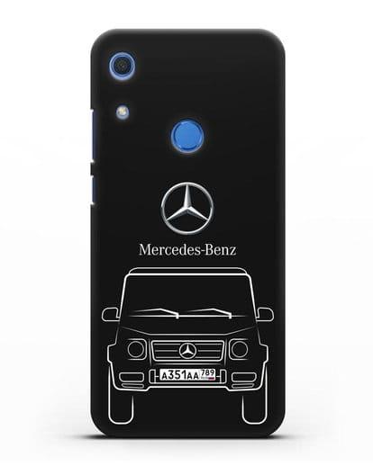 Чехол Mercedes Benz G-класс с автомобильным номером силикон черный для Huawei Y6s