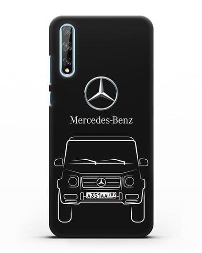 Чехол Mercedes Benz G-класс с автомобильным номером силикон черный для Huawei Y8P