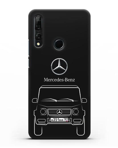 Чехол Mercedes Benz G-класс с автомобильным номером силикон черный для Huawei Y9 Prime 2019