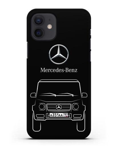 Чехол Mercedes Benz G-класс с автомобильным номером силикон черный для iPhone 12