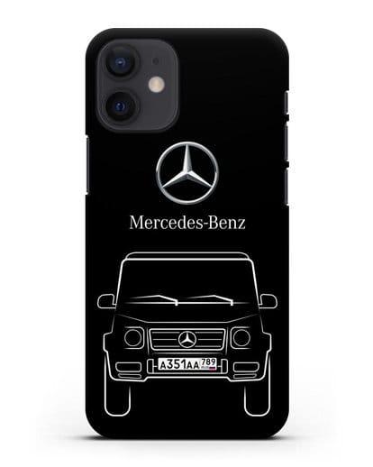 Чехол Mercedes Benz G-класс с автомобильным номером силикон черный для iPhone 12 mini