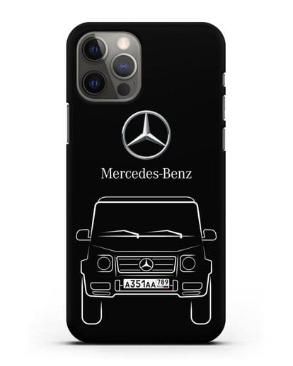 Чехол Mercedes Benz G-класс с автомобильным номером силикон черный для iPhone 12 Pro