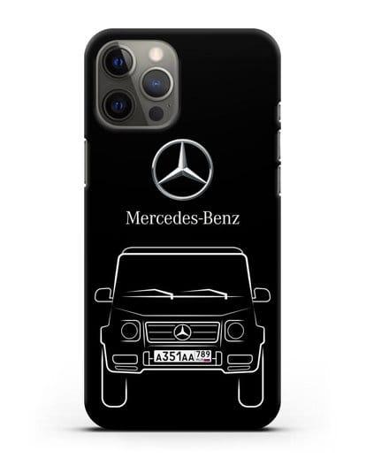 Чехол Mercedes Benz G-класс с автомобильным номером силикон черный для iPhone 12 Pro Max