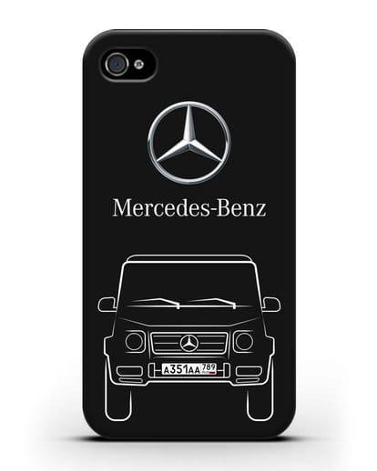 Чехол Mercedes Benz G-класс с автомобильным номером силикон черный для iPhone 4/4s