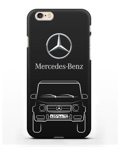 Чехол Mercedes Benz G-класс с автомобильным номером силикон черный для iPhone 6