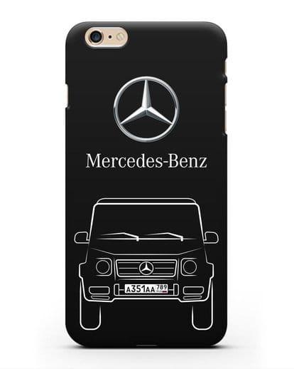 Чехол Mercedes Benz G-класс с автомобильным номером силикон черный для iPhone 6s Plus