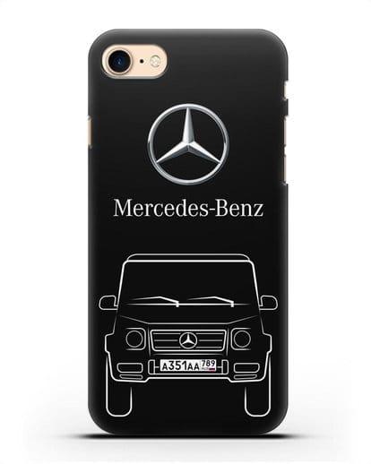 Чехол Mercedes Benz G-класс с автомобильным номером силикон черный для iPhone 8