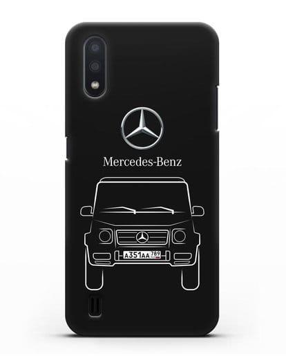 Чехол Mercedes Benz G-класс с автомобильным номером силикон черный для Samsung Galaxy A01 [SM-A015F]