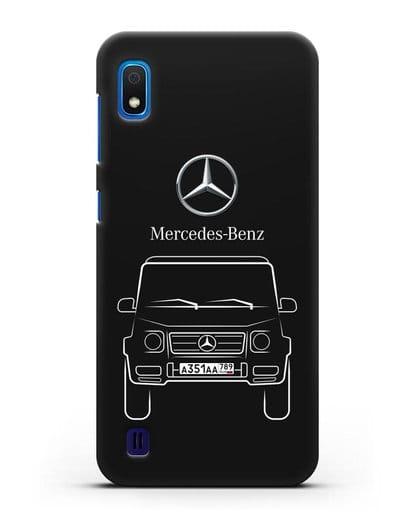 Чехол Mercedes Benz G-класс с автомобильным номером силикон черный для Samsung Galaxy A10 [SM-A105F]