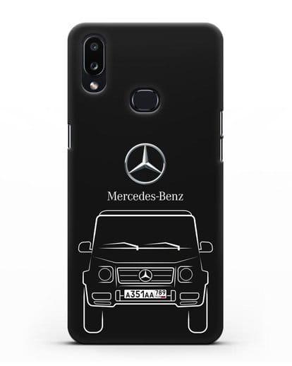 Чехол Mercedes Benz G-класс с автомобильным номером силикон черный для Samsung Galaxy A10s [SM-F107F]
