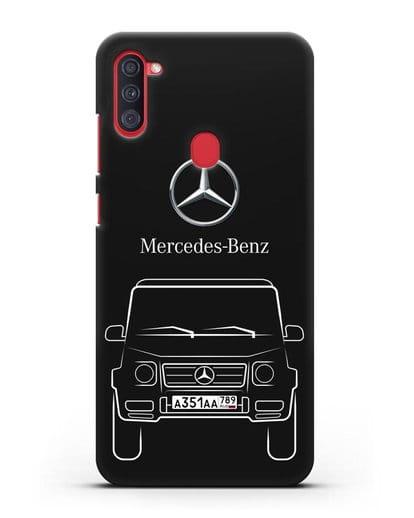 Чехол Mercedes Benz G-класс с автомобильным номером силикон черный для Samsung Galaxy A11 [SM-A115F]