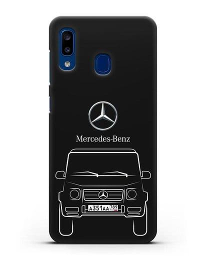 Чехол Mercedes Benz G-класс с автомобильным номером силикон черный для Samsung Galaxy A20 [SM-A205FN]