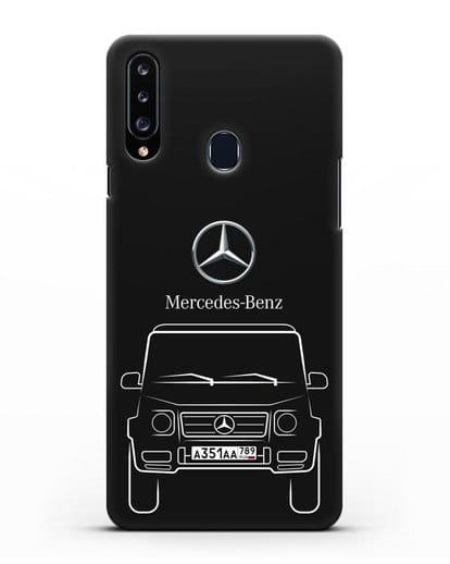 Чехол Mercedes Benz G-класс с автомобильным номером силикон черный для Samsung Galaxy A20s [SM-A207FN]