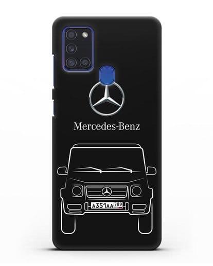 Чехол Mercedes Benz G-класс с автомобильным номером силикон черный для Samsung Galaxy A21s [SM-A217F]