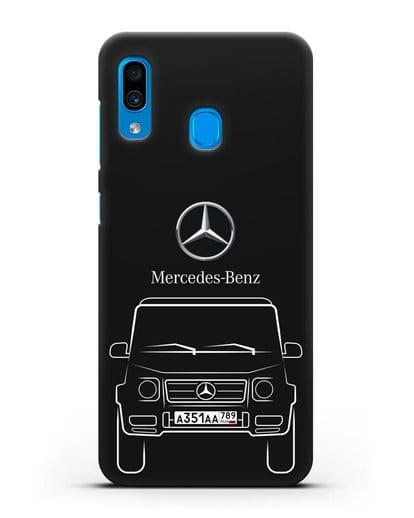 Чехол Mercedes Benz G-класс с автомобильным номером силикон черный для Samsung Galaxy A30 [SM-A305FN]