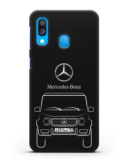 Чехол Mercedes Benz G-класс с автомобильным номером силикон черный для Samsung Galaxy A40 [SM-A405F]