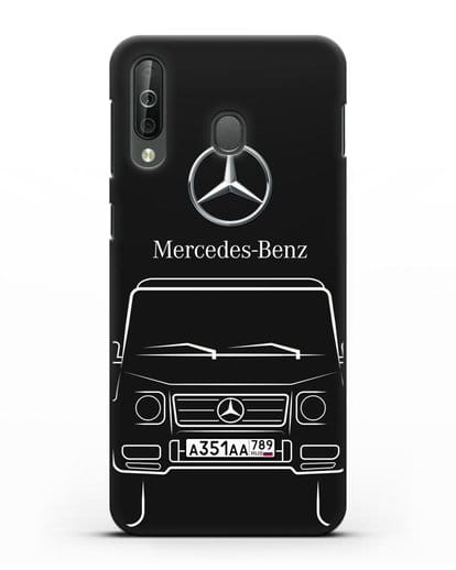 Чехол Mercedes Benz G-класс с автомобильным номером силикон черный для Samsung Galaxy A40s [SM-A507FN]