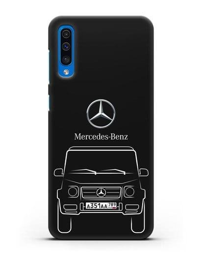 Чехол Mercedes Benz G-класс с автомобильным номером силикон черный для Samsung Galaxy A50 [SM-A505F]