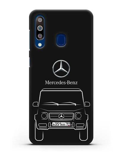 Чехол Mercedes Benz G-класс с автомобильным номером силикон черный для Samsung Galaxy A60 [SM-A606F]