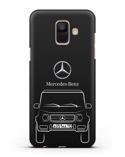 Чехол Mercedes Benz G-класс с автомобильным номером силикон черный для Samsung Galaxy A6 2018 [SM-A600F]