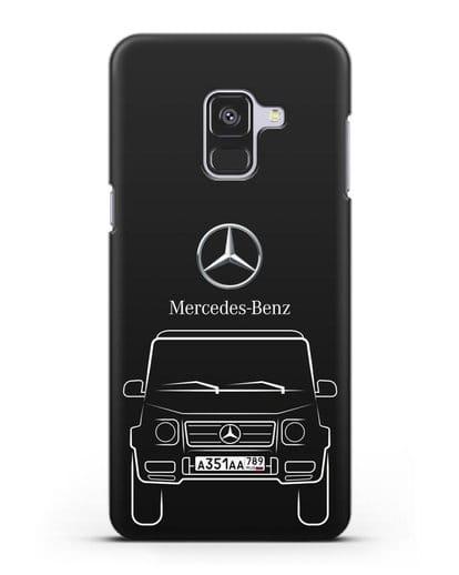 Чехол Mercedes Benz G-класс с автомобильным номером силикон черный для Samsung Galaxy A8 Plus [SM-A730F]
