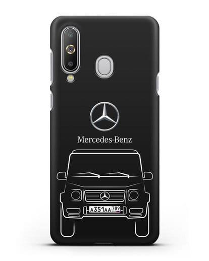 Чехол Mercedes Benz G-класс с автомобильным номером силикон черный для Samsung Galaxy A8s [SM-G8870]