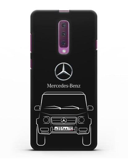 Чехол Mercedes Benz G-класс с автомобильным номером силикон черный для Samsung Galaxy A90 [SM-A908N]