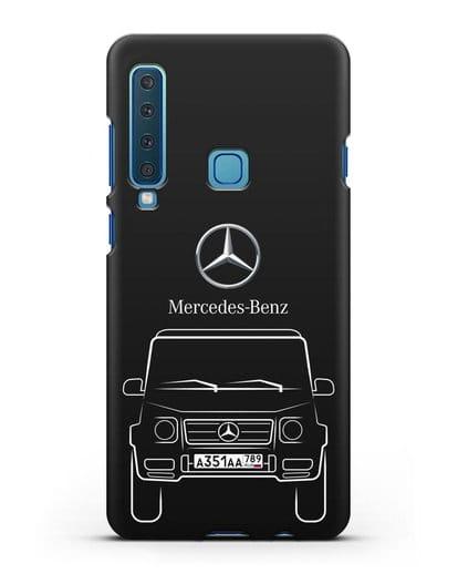 Чехол Mercedes Benz G-класс с автомобильным номером силикон черный для Samsung Galaxy A9 (2018) [SM-A920]