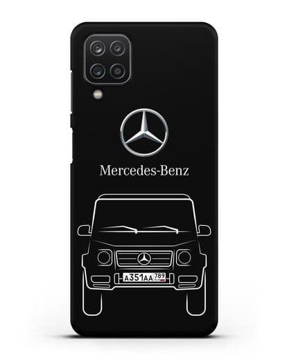 Чехол Mercedes Benz G-класс с автомобильным номером силикон черный для Samsung Galaxy A12 [SM-A125F]