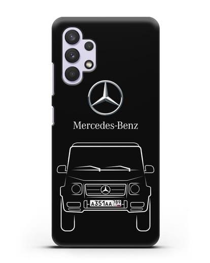 Чехол Mercedes Benz G-класс с автомобильным номером силикон черный для Samsung Galaxy A32 5G [SM-A326B]